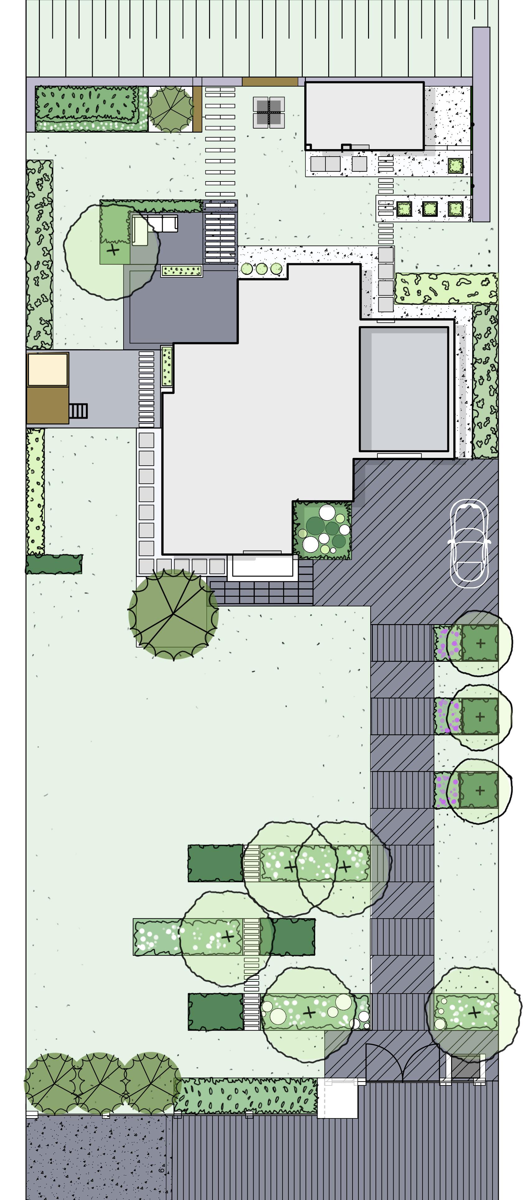 rzut ogrodu - ogród prywatny w Tenczynie