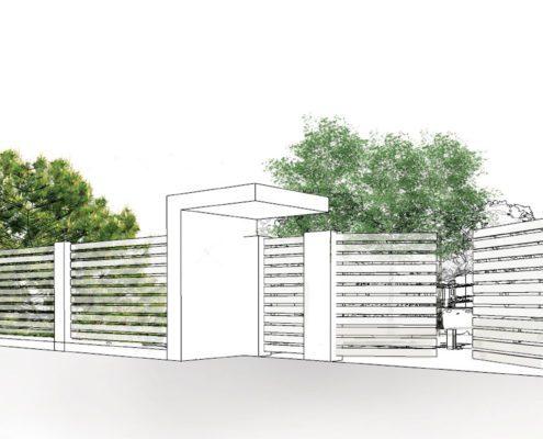 widok na ogrodzenie - rysunek koncepcyjny, ogród prywatny w Tenczynie