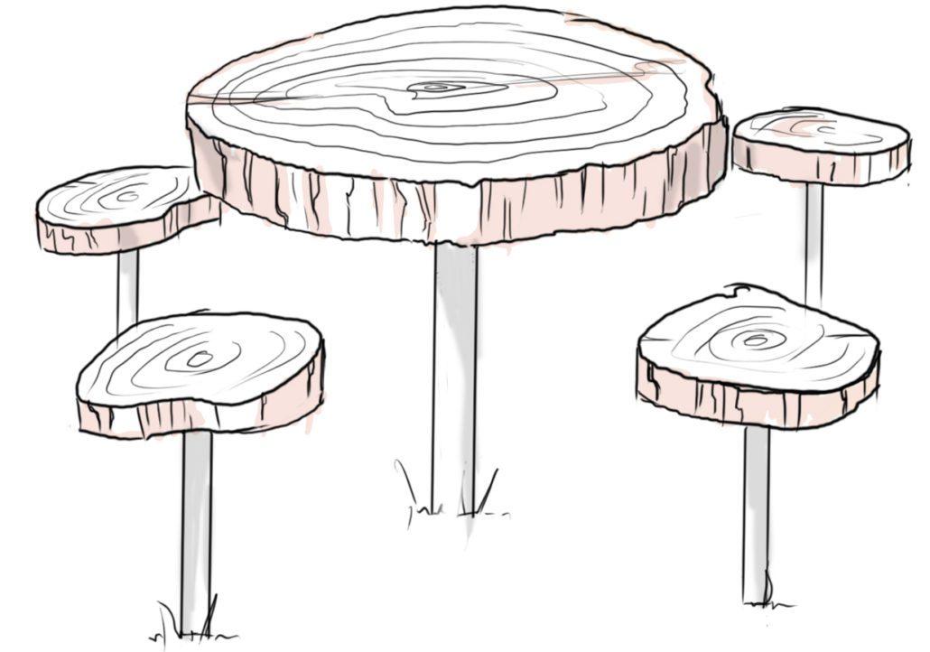 Stół z drewna z recyklingu